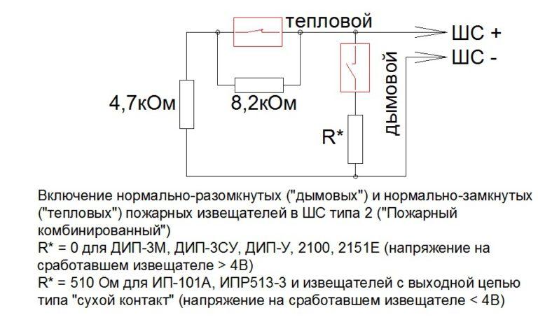 Схема подключения извещателей в шлейф